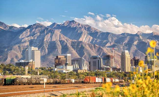 view of Salt Lake City in Utah and mountains
