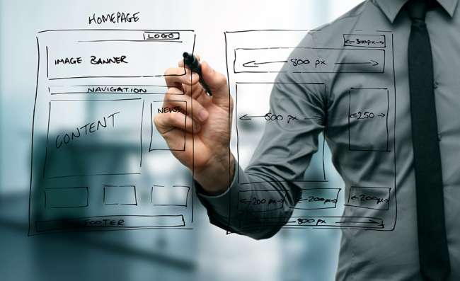 Designer drawing the wireframe for a b2b website