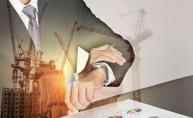 business man reviewing a construction website design