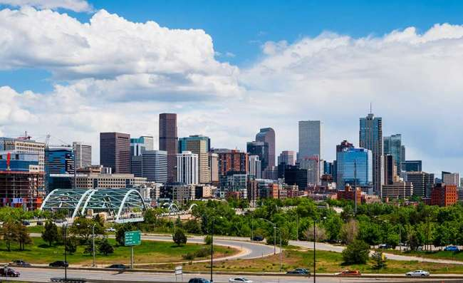 view of Denver on a sunny day