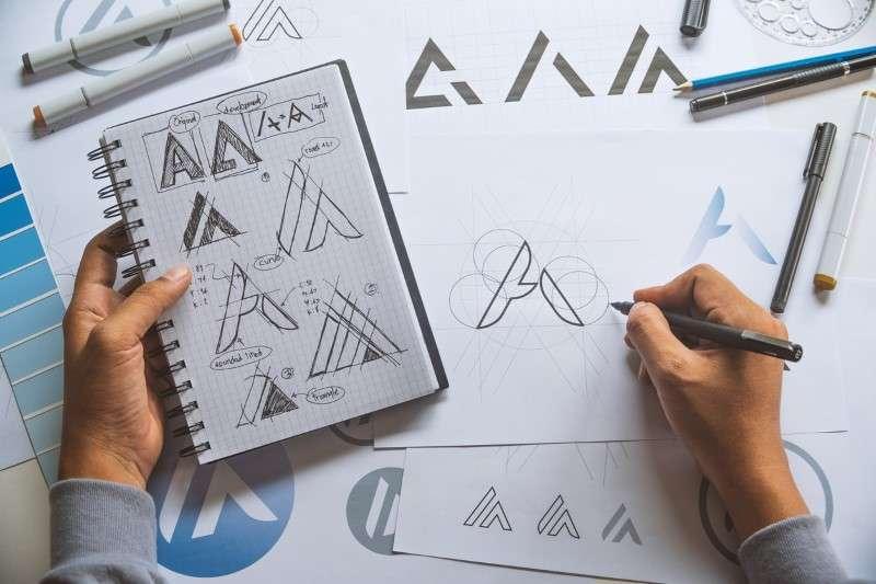 Logo designer creating a logo