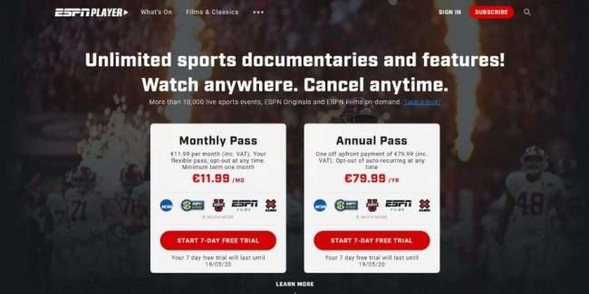 Sports live streaing websites: ESPN Player