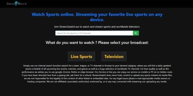 Free sports streaming websites: Stream2Watch