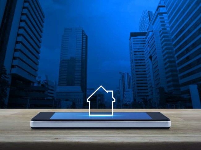 best crm for real estate: house icon smartphone