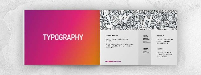 The example of typography in a brand book