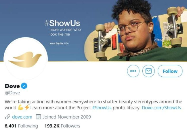 Brand voice guidelines: Dove's Twitter profile
