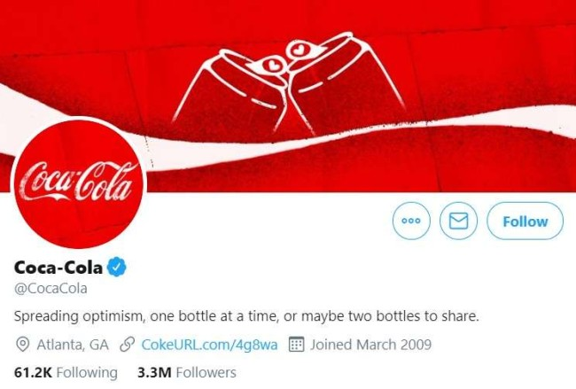 Brand voice guidelines: Coca Cola's Twitter profile