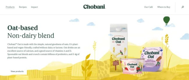 Chobani's website