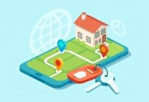 real estate software developers mobile phone illustration