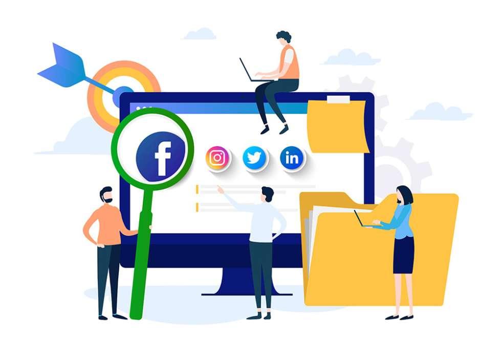 Social media marketing company managing a business profile