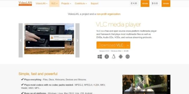open source software solution: VLC Media Player