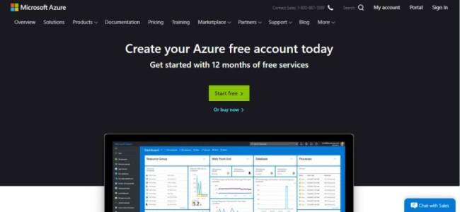 Software Development Tools: Microsoft Azure Homepage
