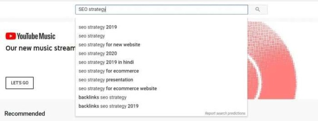 Keyword research with YouTube