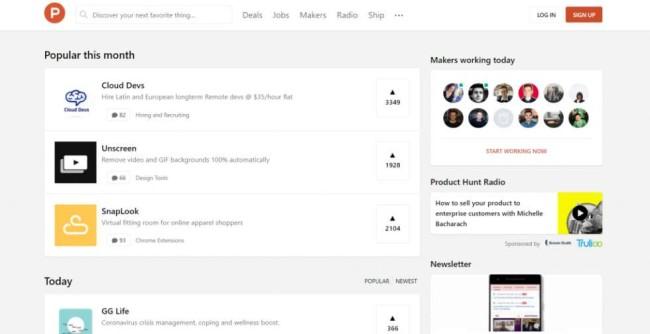 ProductHunt home page screenshot
