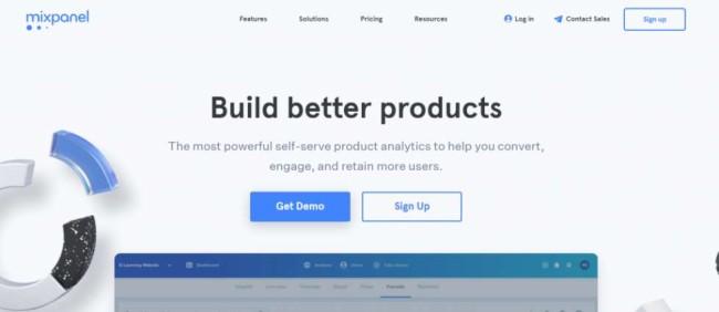 Mixpanel home page screenshot