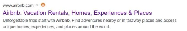 Airbnb meta description example