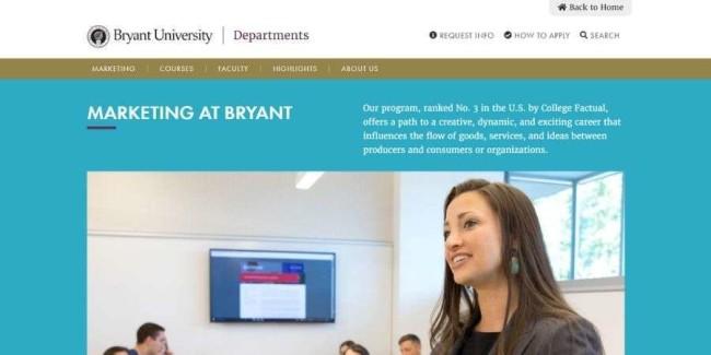 Best marketing schools: Bryant University
