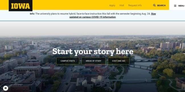 University of Iowa website