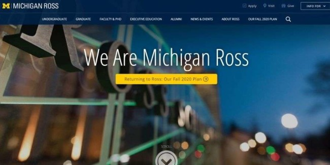 University of Michigan website