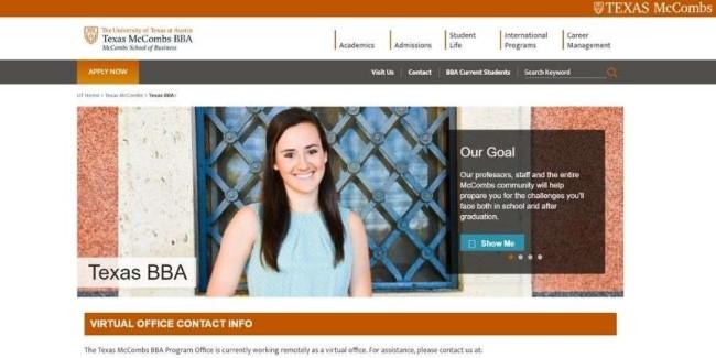 University of Texas at Austin website