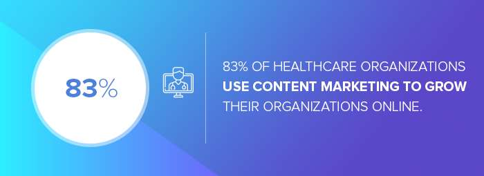Healthcare digital marketing agencies: the number of healthcare organizations that use content marketing to grow their organizations online.