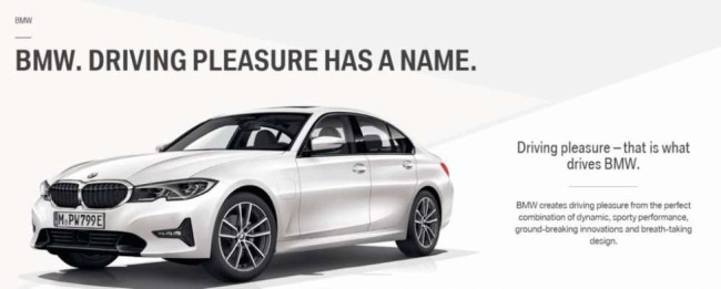 """BMW's product branding that resonates with the """"driving pleasure"""" philosophy."""