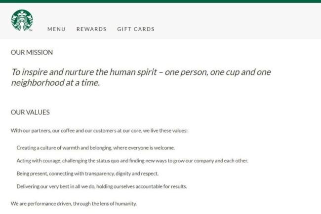 Starbucks' corporate branding that establishes their core corporate values