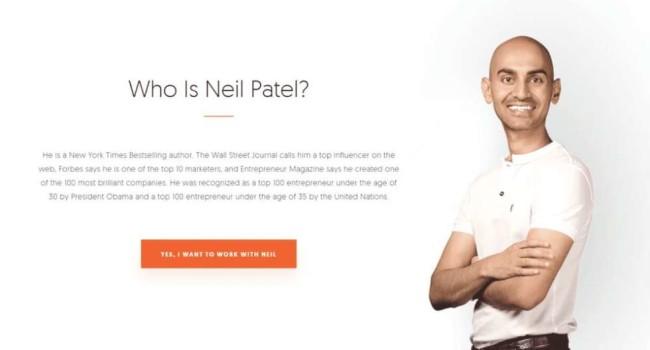 Neil Patels' personal branding example