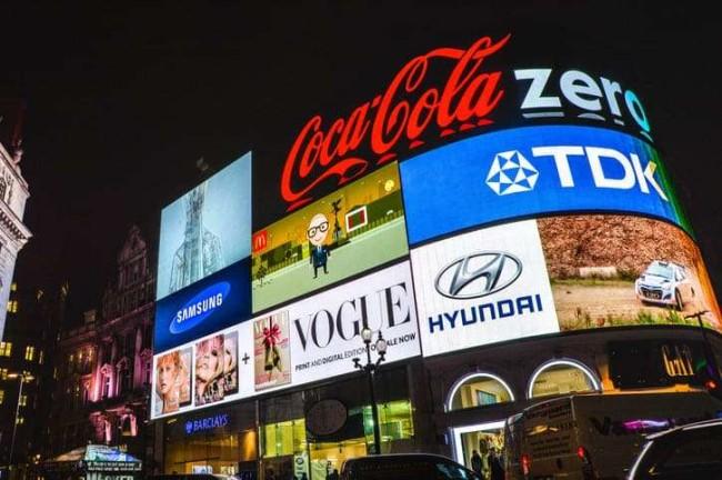 Business branding hero image: billboards with famous brands