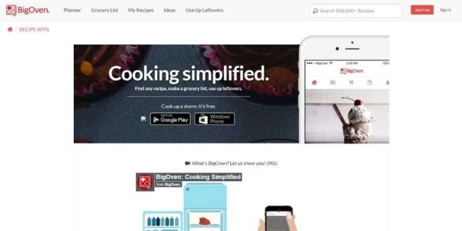 Top app landing pages: BigOven