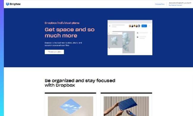 b2b best web designs: Dropbox