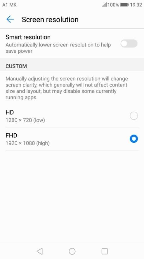 FHD screen resolution