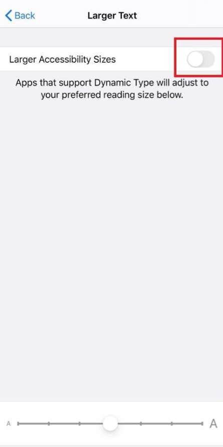 larger accessibility sizes on iPhone