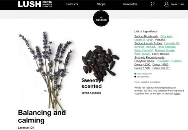 eCommerce UX: Lush website