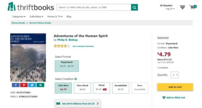 eCommerce UX example: Thriftbooks wishlist