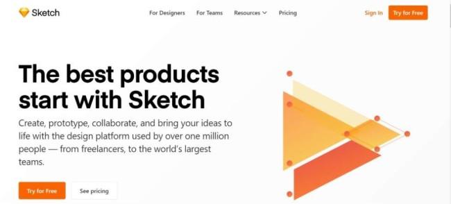 A home page screenshot of a website mockup tool Sketch