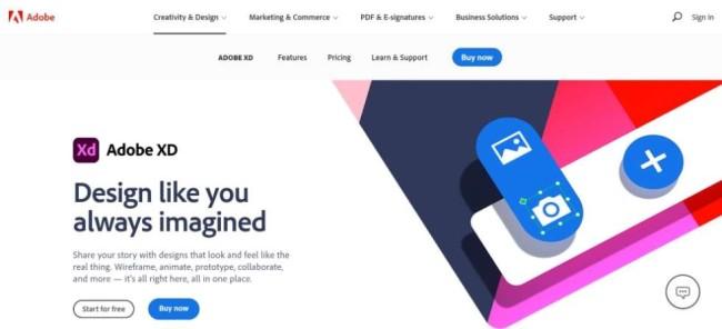 A home page screenshot of aweb design mockup tool Adobe XD