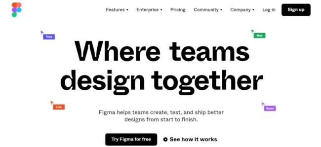A home page screenshot of awebsite mockup tool Figma