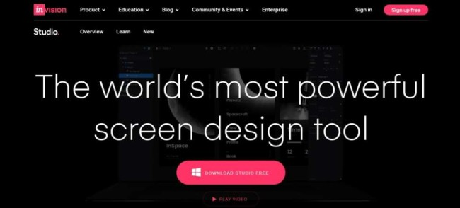 A home page screenshot of a webpage mockup tool InVision Studio