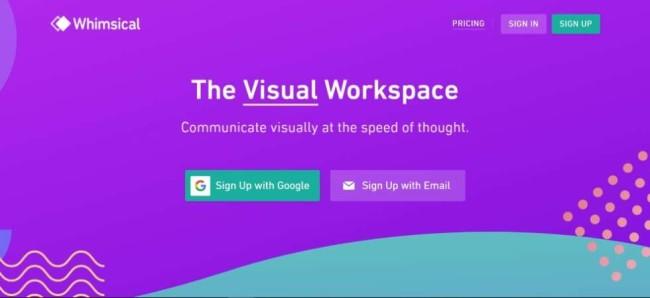 A home page screenshot of awebsite mockup tool Whimsical