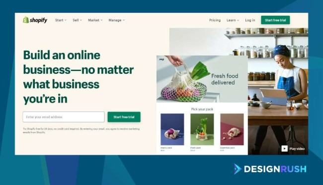 how to build an eCommerce website: Shopify homepage