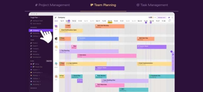 A homepage screenshot from Toggl as one of the best time management apps