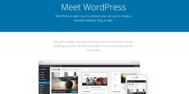 WordPress.org home page screenshot
