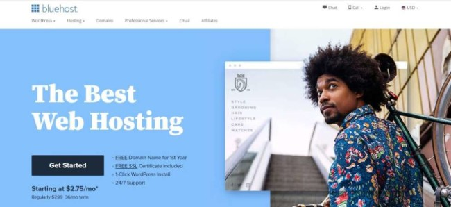 a screenhot of Bluehost as one of the best hosting providers
