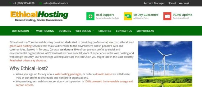 EthicalHost screenshot as one of the best hosting providers