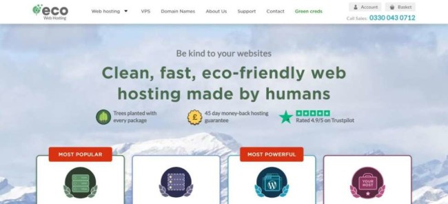 Eco Web Hosting screenshot as one of the best hosting providers