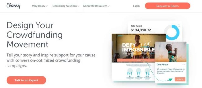 A screenshot from Classy as one of the best crowdfunding sites