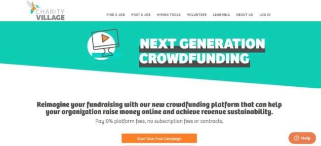 A home page screenshot from Charity Village as one of the best crowdfunding sites