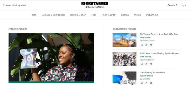 A home page screenshot from Kickstarter as one of the best crowdfunding sites