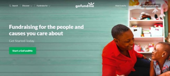 A screenshot from GoFundMe home page as one of the best crowdfunding platforms